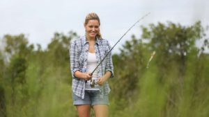 woman fishing in the everglades